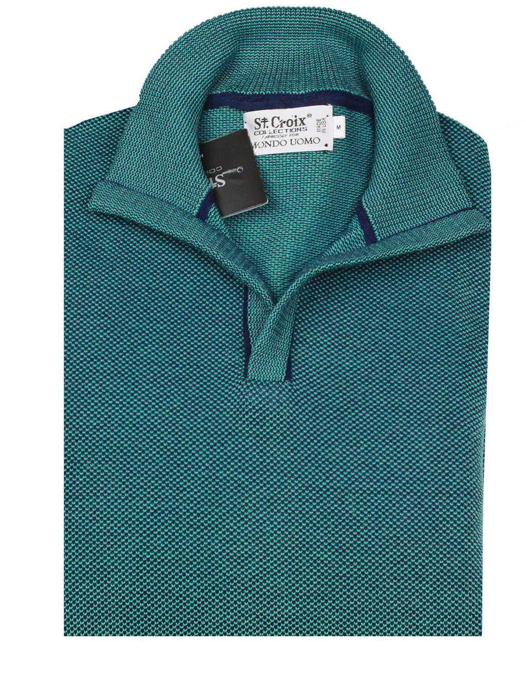 St Croix Sweater Open Mock Neck Navy/Turquoise