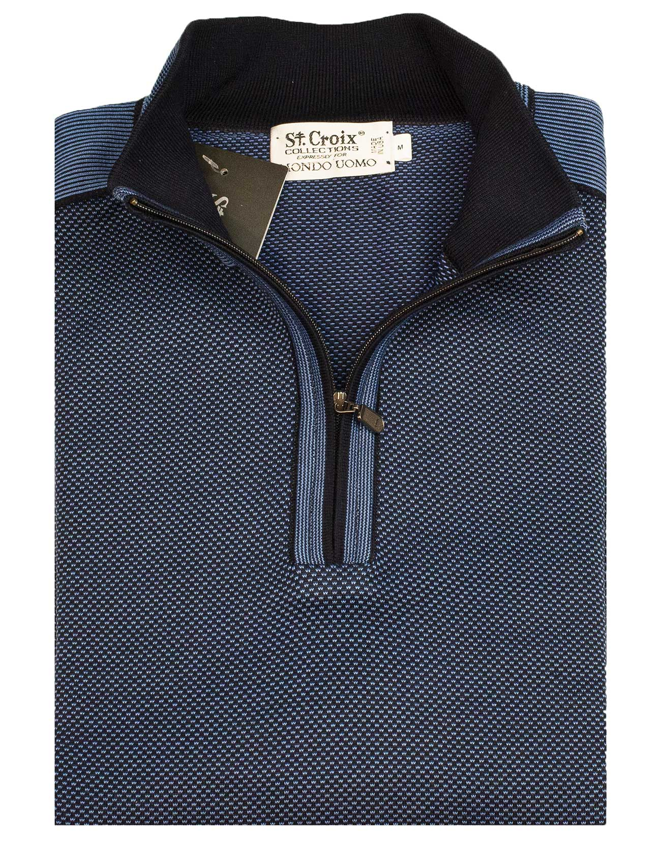 St Croix Sweater Zip Mock Coastal Navy