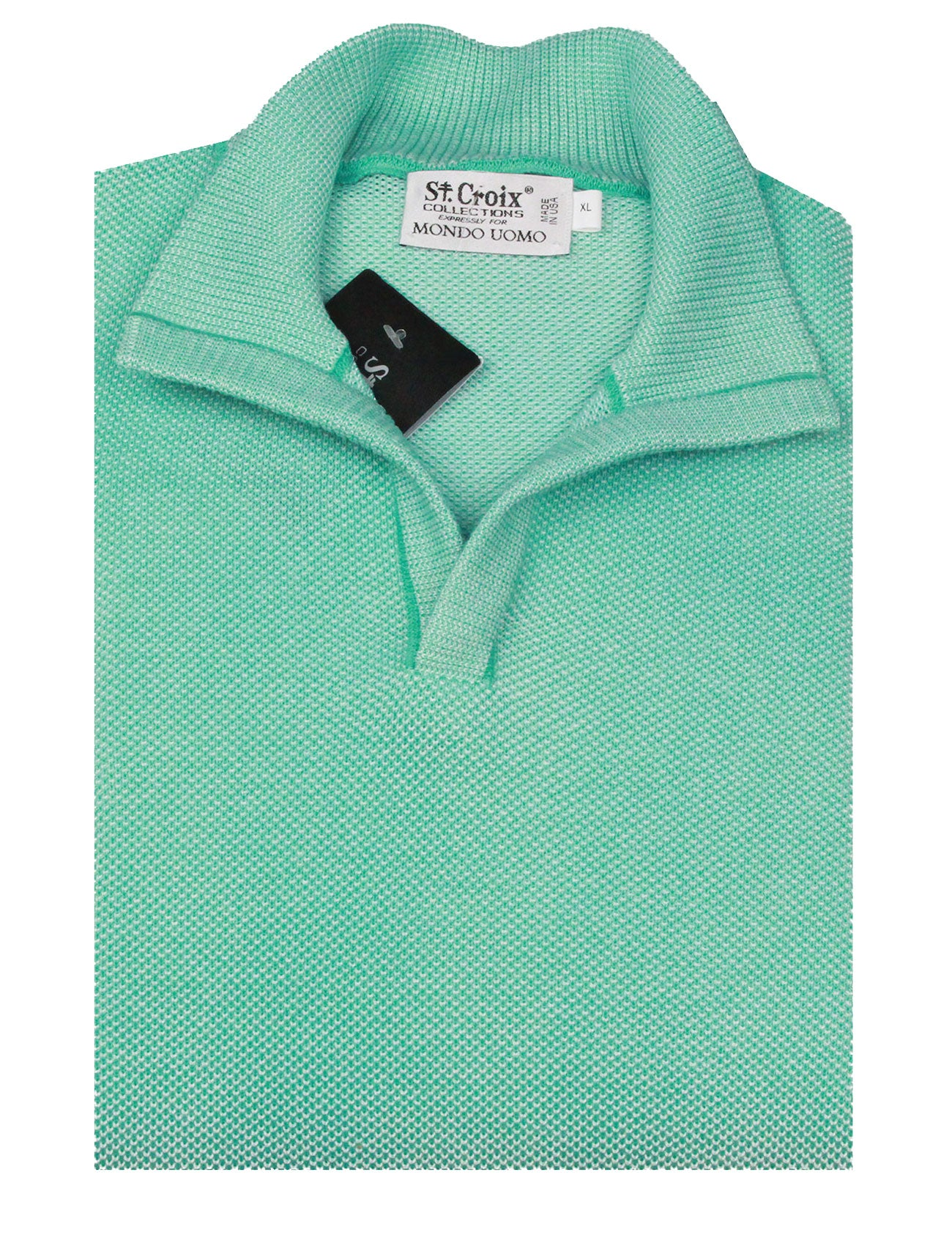 St Croix Sweater Open Mock Neck Turquoise