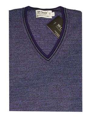 St Croix Twisted Yarn V-neck purple