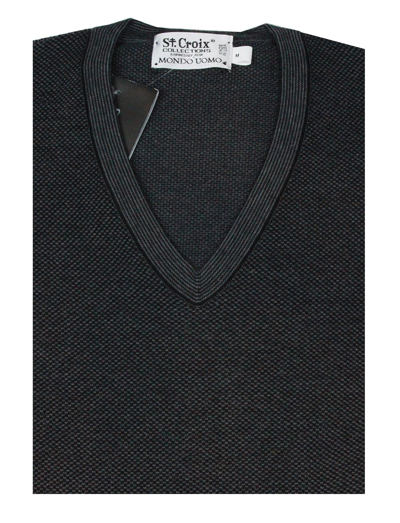 St Croix Sweater V Neck Black- Lead  Marl