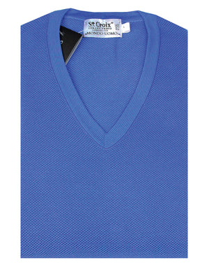St Croix Sweater V Neck Bright Blue