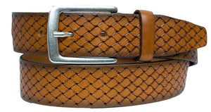 ALBERTO BASKET WEAVE LEATHER BELT TAN 8323