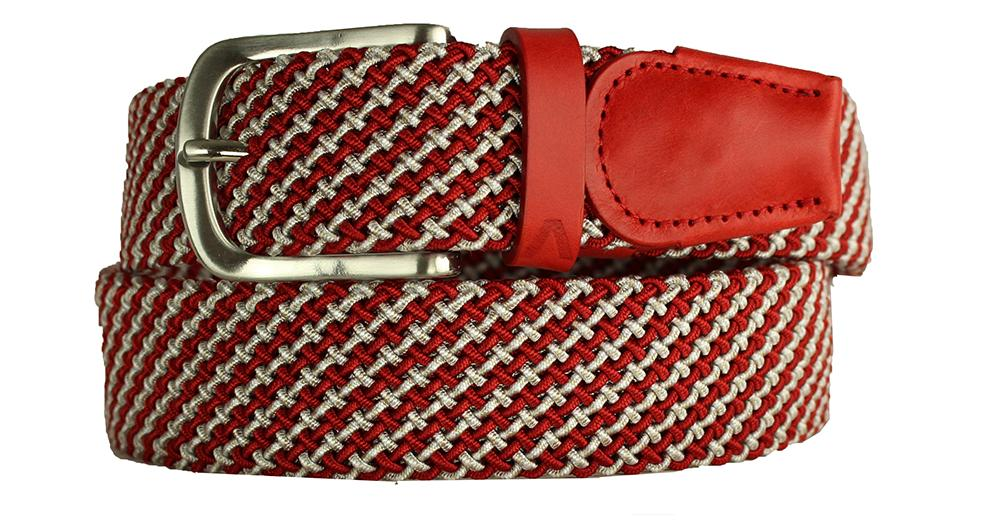 ALBERTO BRAIDED MULTI-STRETCH BELT RED/WHITE 8337