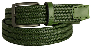 ALBERTO BRAIDED STRETCH LEATHER BELT GREEN 8405