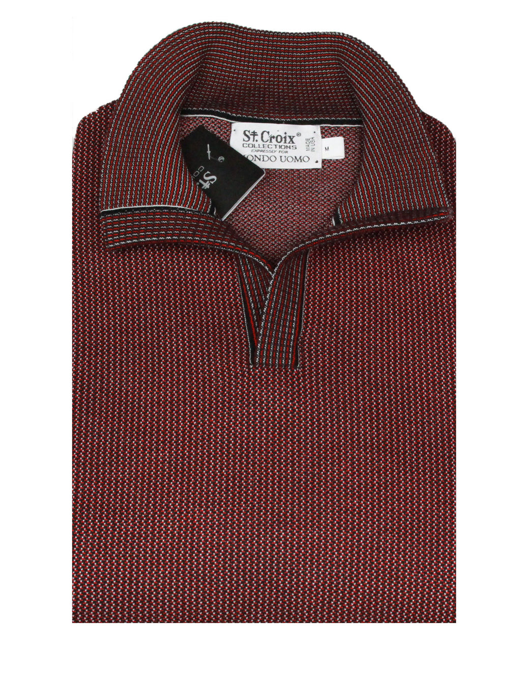 St Croix Sweater Open Mock Black- Red