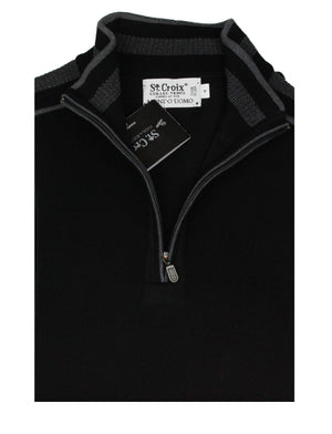 St Croix Sweater Zip mock Black