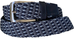 ALBERTO BRAIDED MULTICOLR BELT NAVY/GREY