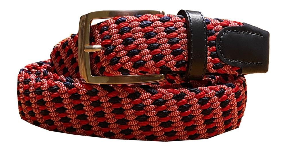 ALBERTO BRAIDED MULTICOLR BELT RED/NAVY/WHITE