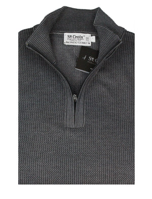St Croix Sweater Zip Mock  Lead Marl