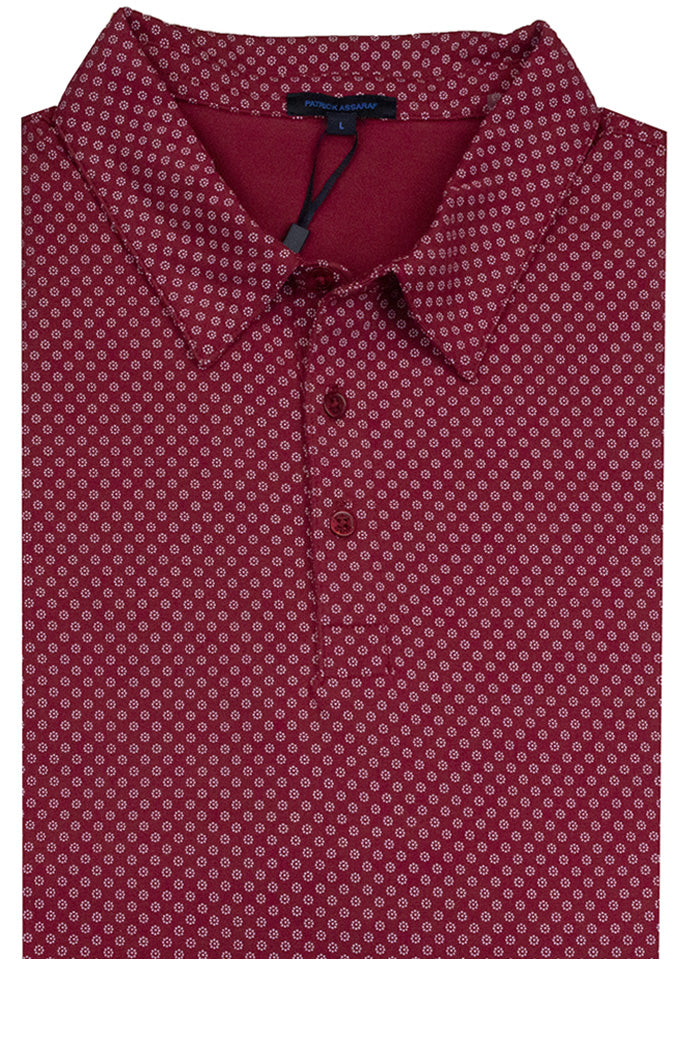 Patrick Assaraf Printed Small Dots Polo Red