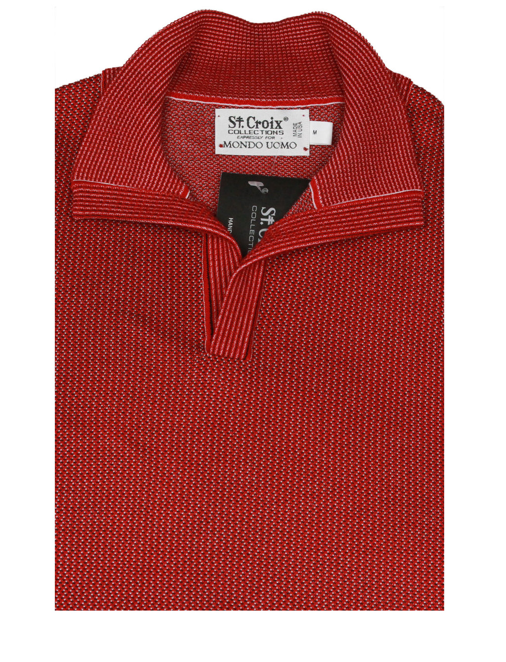 St Croix Sweater Open Mock Neck Red