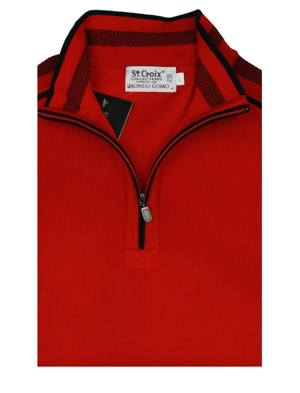 St Croix Sweater Zip Mock  Red