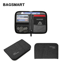 Charger l'image dans la galerie, BAGSMART Multifunctional RFID Travel Bag for Passport  ID Card Credit Card Men Zipper Clutch Wallet Travel Organizer Bag