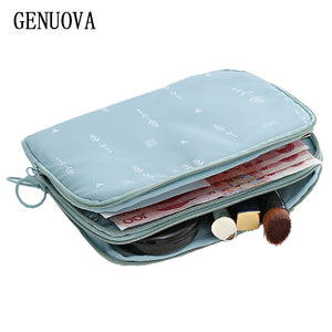 Travel Double-decker Document Bag Travel Passport Wallet Multi-function Used To Store ID Card,Charger , Cosmetics Organizer Bag