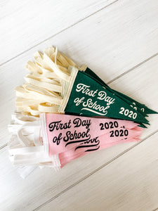 *LAST ONE! Back to School Mini Pennant in Pink/White