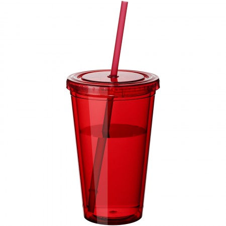 Cyclone insulated tumbler and straw, red, 15,5 x d: 10 cm