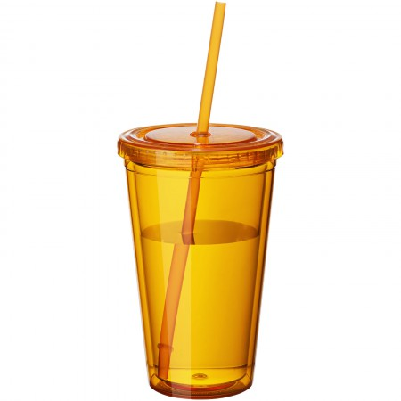 Cyclone insulated tumbler and straw, orange, 15,5 x d: 10 cm