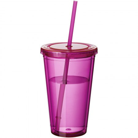 Cyclone insulated tumbler and straw, pink, 15,5 x d: 10 cm