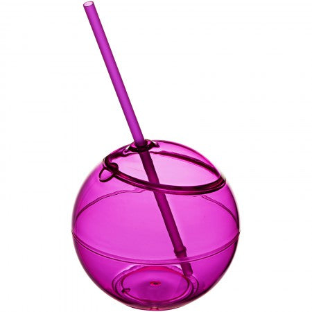 Fiesta ball and straw, pink, 23 x d: 12 cm
