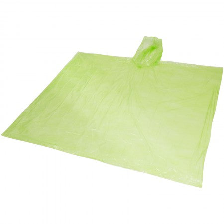 Ziva disposable rain poncho with pouch, green, 15,8 x 10,7 x