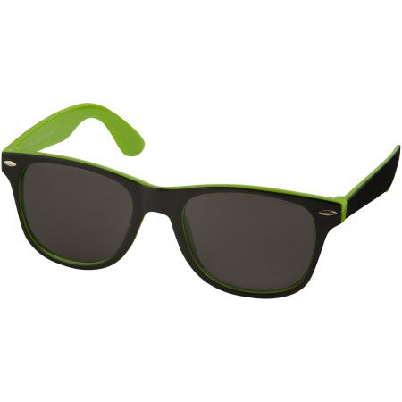 Sun Ray sunglasses - black with colour pop, green, 14,5 x 15