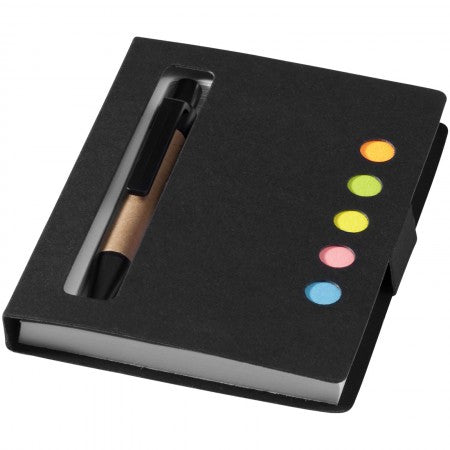 Reveal sticky notes book and pen, solid black, 10,5 x 7,8 x