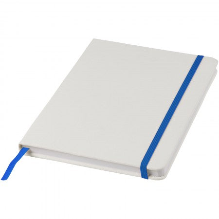 White A5 spectrum notebook with coloured strap, blue