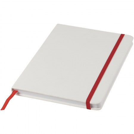 White A5 spectrum notebook with coloured strap, red