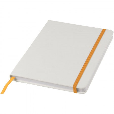 White A5 spectrum notebook with coloured strap, orange