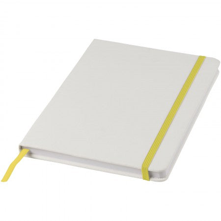 White A5 spectrum notebook with coloured strap, yellow