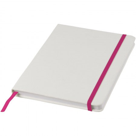 White A5 spectrum notebook with coloured strap, pink