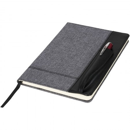 Heathered A5 notebook with leatherlook side, solid black