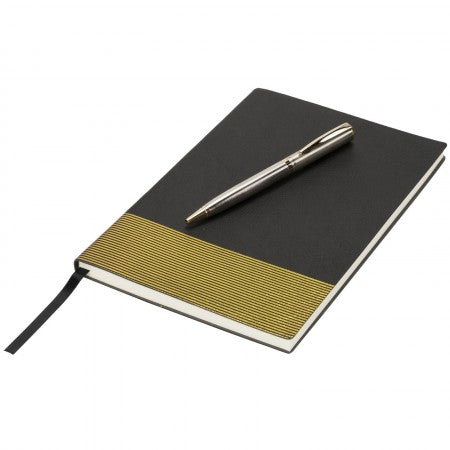 Midas Notebook & Pen Gift Set, solid black