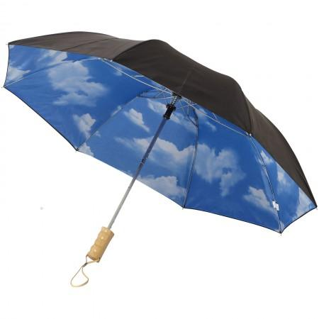 "21"" Blue skies 2-section automatic umbrella, solid black, 42 - BRANIO"