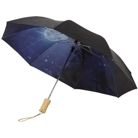 "21"" Clear night sky 2-section automatic umbrella, solid blac - BRANIO"
