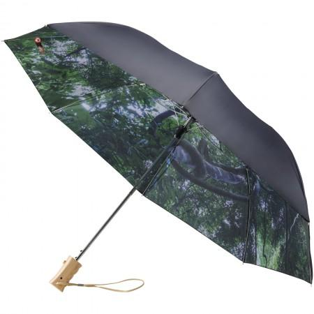 "21"" Forest skies 2-section automatic umbrella, black solid - BRANIO"