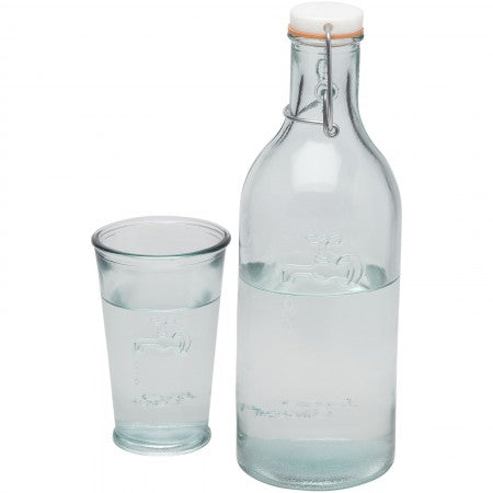 Water carafe with glass, transparent, 18 x 9,3 x 27,5 cm