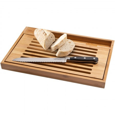 Bistro cutting board with bread knife, brown, 25 x 38 x 3,0