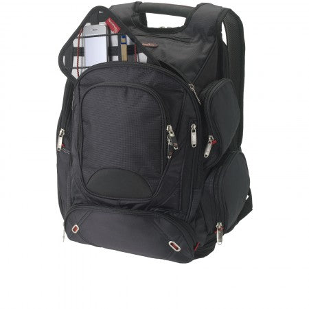 "Proton Checkpoint friendly 17"" computer backpack, solid blac"