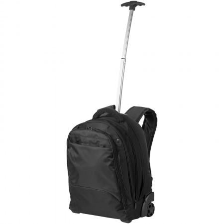 "17"" Laptop rolling backpack, solid black, 37 x 19 x 49 cm - BRANIO"