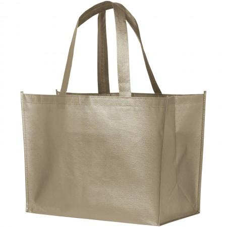 Alloy Laminated Shopper Tote, Silver - BRANIO