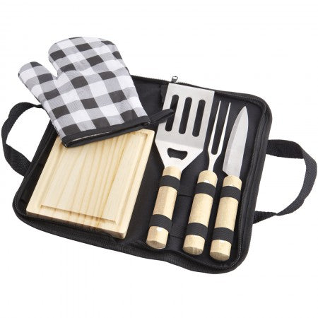 West 5-piece BBQ set, solid black, 33 x 16 x 3,5 cm