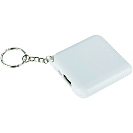 Emergency Power bank with Keychain 1800mAh, white, 6 x 5,6 x