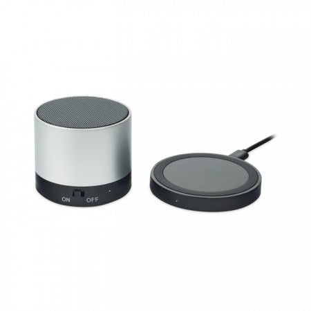 Incarcator Wireless si BT Speaker Negru/Alb