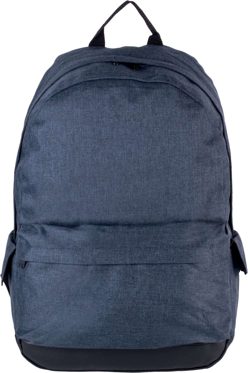 BACKPACK WITH IMITATION LEATHER TRIM