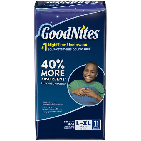 HUGGIES GOODNITES UNDERWEAR BOY L/XL 11pc x 4Pack