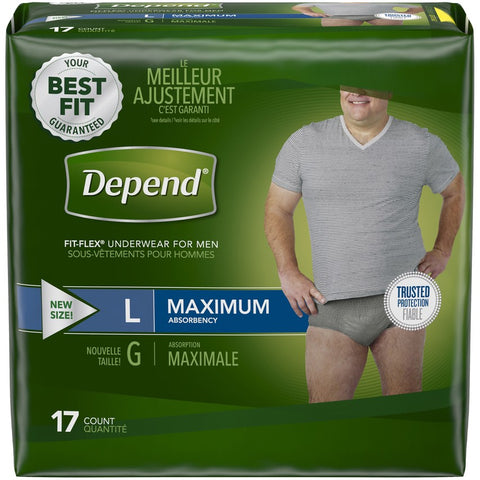 DEPEND UNDERWEAR LARGE MEN MAX ABS 17x2Pack