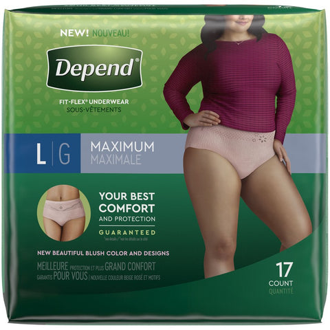 DEPENDS UNDERWEAR WOMEN LARGE MAX ABS 17x2Pack