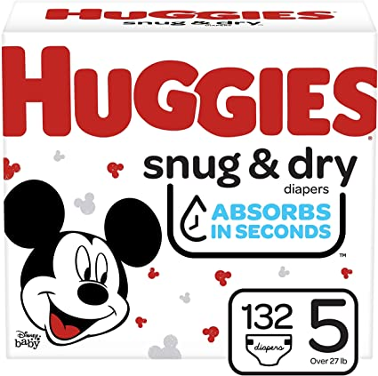 DIAPERS HUGGIES HUGE PACK S5 (132 CT)